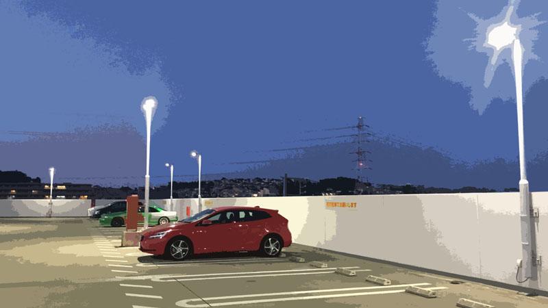 怖い話用 駐車場に止まるV40